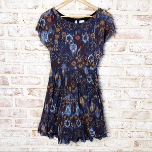 Weston Wear Anthropologie Flared Printed Dress M